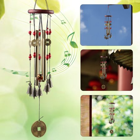 TSV Hanging Garden Tubes Bells Copper Wind Chimes Home Yard Window Outdoor - Yard Decor