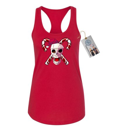 Santa Skull Candy Canes Christmas Womens Racerback Tank Top](Candy Cane Top)