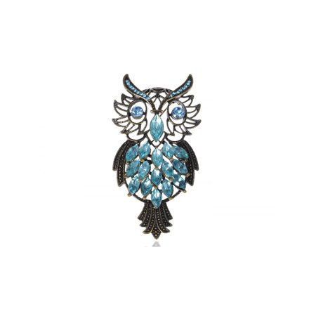 ChicSapphire Crystal Rhinestone Feather Owl Bird Fashion Pin Brooch (Owl Pin)