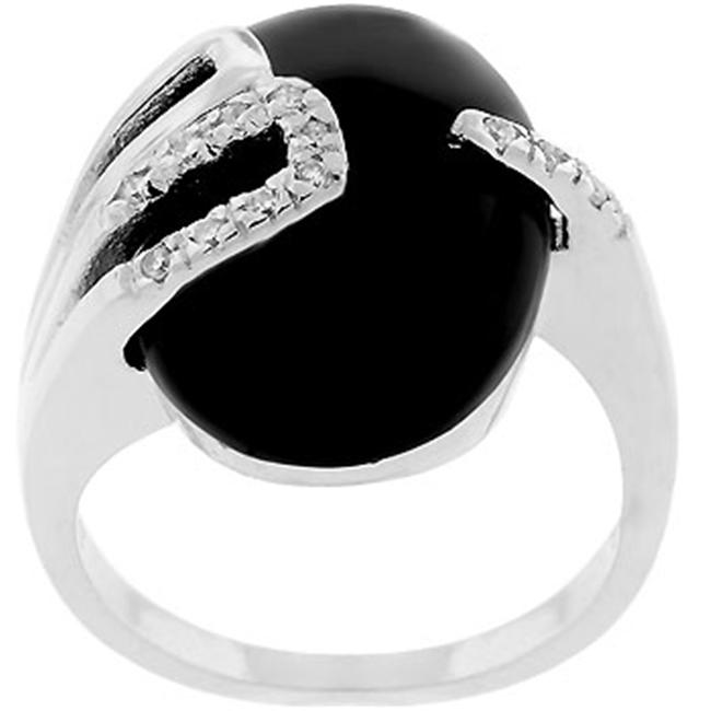 Sunrise Wholesale J2477 05 White Gold Rhodium Bonded with a Black Onyx Centerstone and Pave CZ Black Onyx Egg Ring