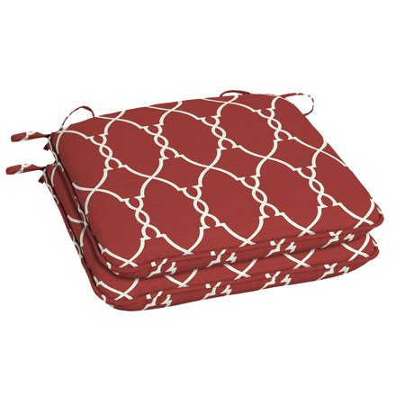 Better Homes & Gardens Red Trellis 18 x 19 in. Outdoor Universal Seat Pad w EnviroGuard, Set of 2