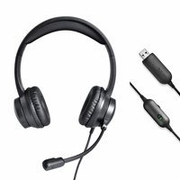 onn. USB Stereo Headset with Built-in Microphone and In-Line Volume Control, 6 ft cord