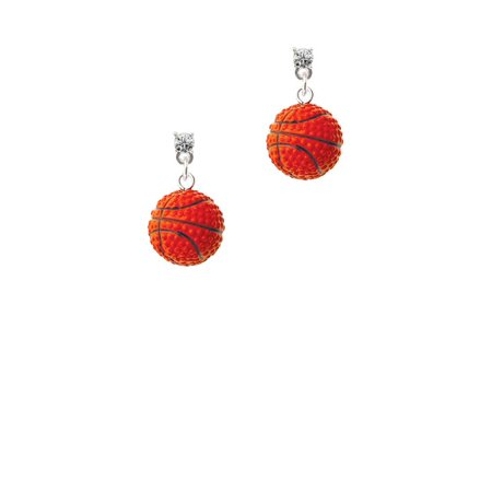 - Resin Basketball Clear Crystal Post Earrings