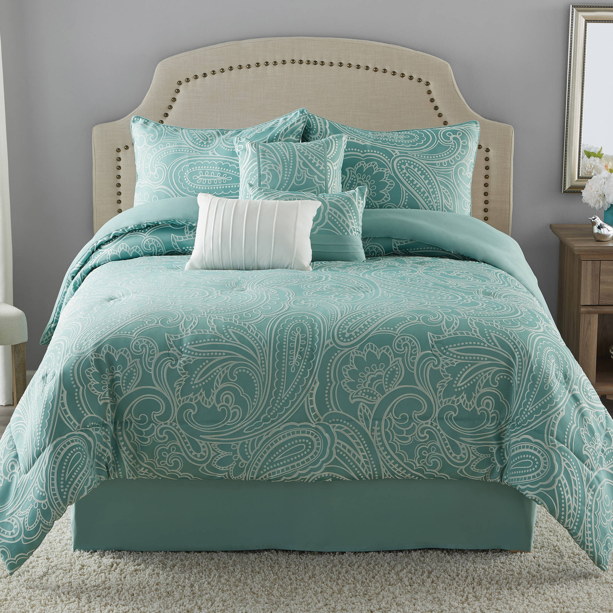 Mainstays Full or Queen Paisley Jacquard Comforter Set, 7 Piece