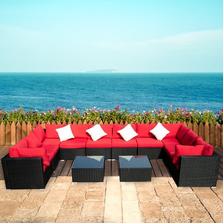 Ainfox Outdoor Patio Furniture 12-Pieces PE Rattan Wicker Sectional Sofa Sets with Blue Pillows,Cushions+ White Pillows
