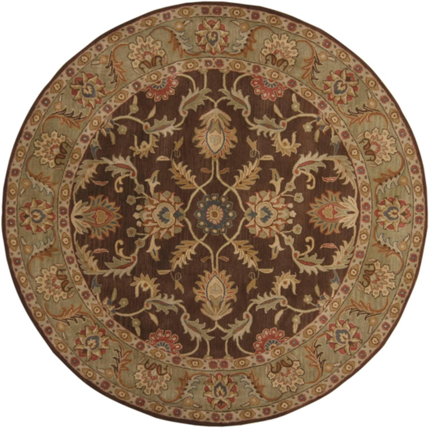 8'  Vespasian Brown and Caper Green Hand Tufted Round Wool Area Throw Rug