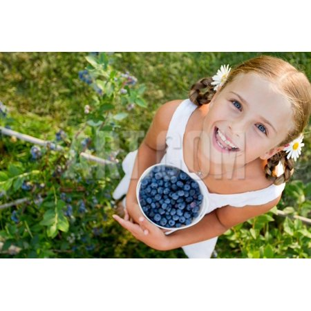 Blueberries, Summer, Child - Lovely Girl with Fresh Blueberries in the Garden Print Wall Art By Gorilla