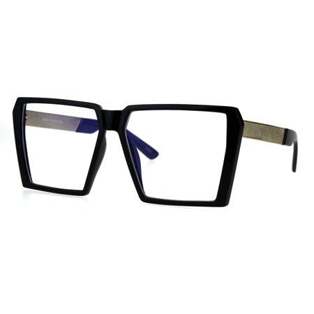 Squared Rectangular Goth Retro Fashion Clear Lens Eye Glasses Black
