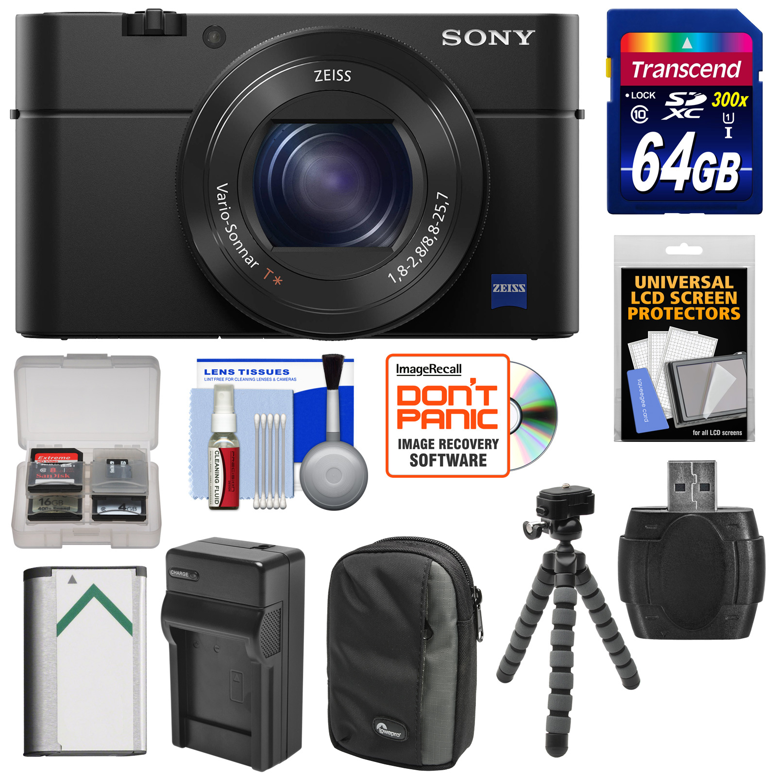 Sony Cyber-Shot DSC-RX100 IV 4K Wi-Fi Digital Camera with 64GB Card + Battery & Charger + Case + Flex Tripod + Kit