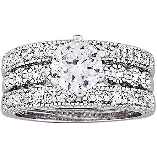 2.7 Carat T.G.W. CZ Silver-Tone Vintage-Inspired Bridal Set