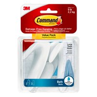 Command Large Towel Hooks Value Pack, Frosted, 3 Hooks