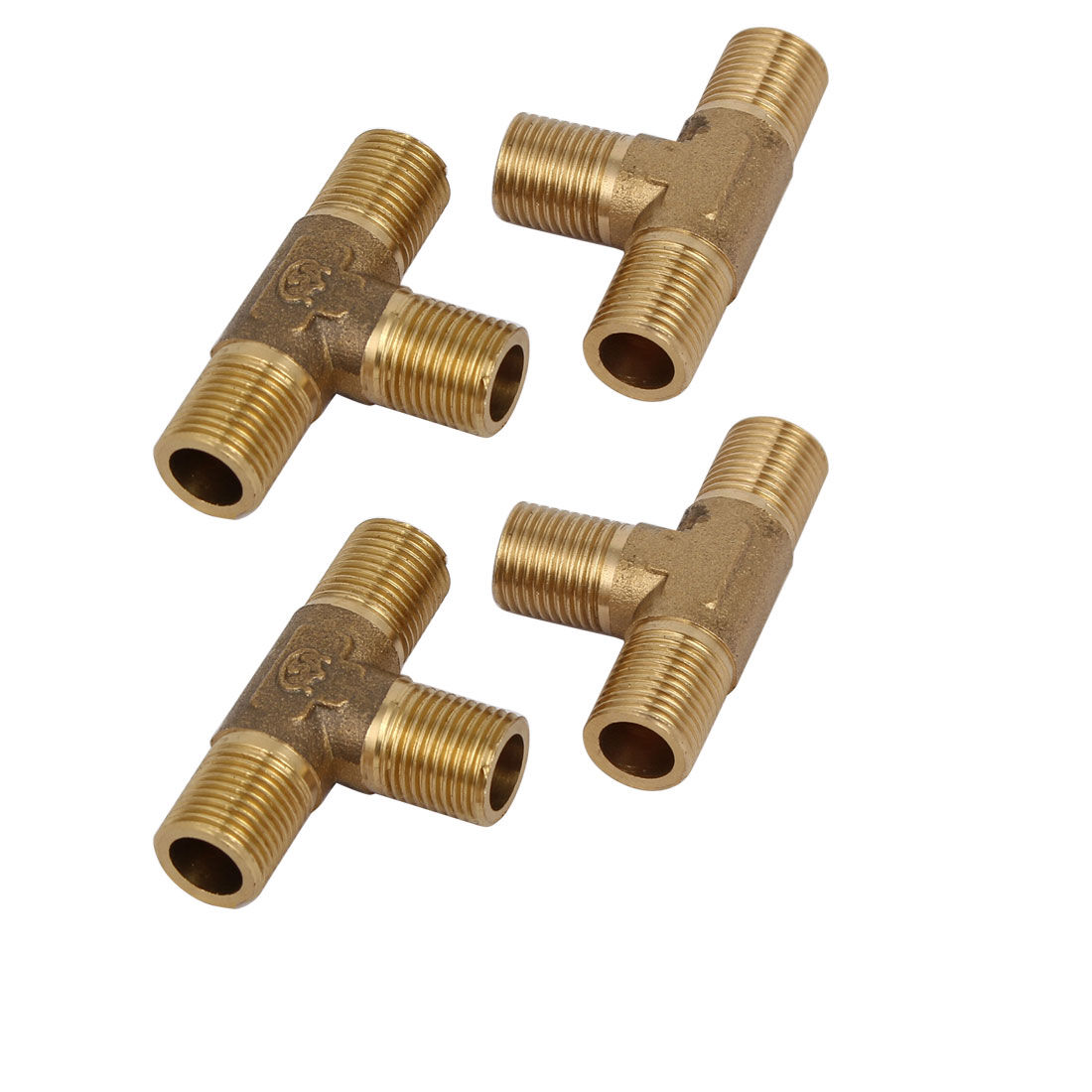 Unique Bargains1/8BSP Male Thread Brass T Shape Tube Pipe Connecting Fittings Connectors 4pcs