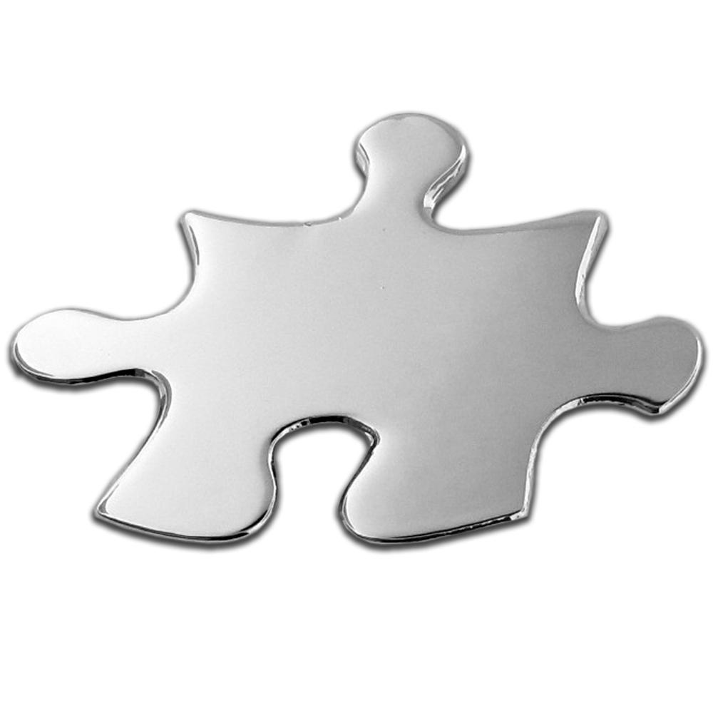 "PinMart's Shiny Silver Autism Puzzle Piece 7/8"" Lapel Pin"