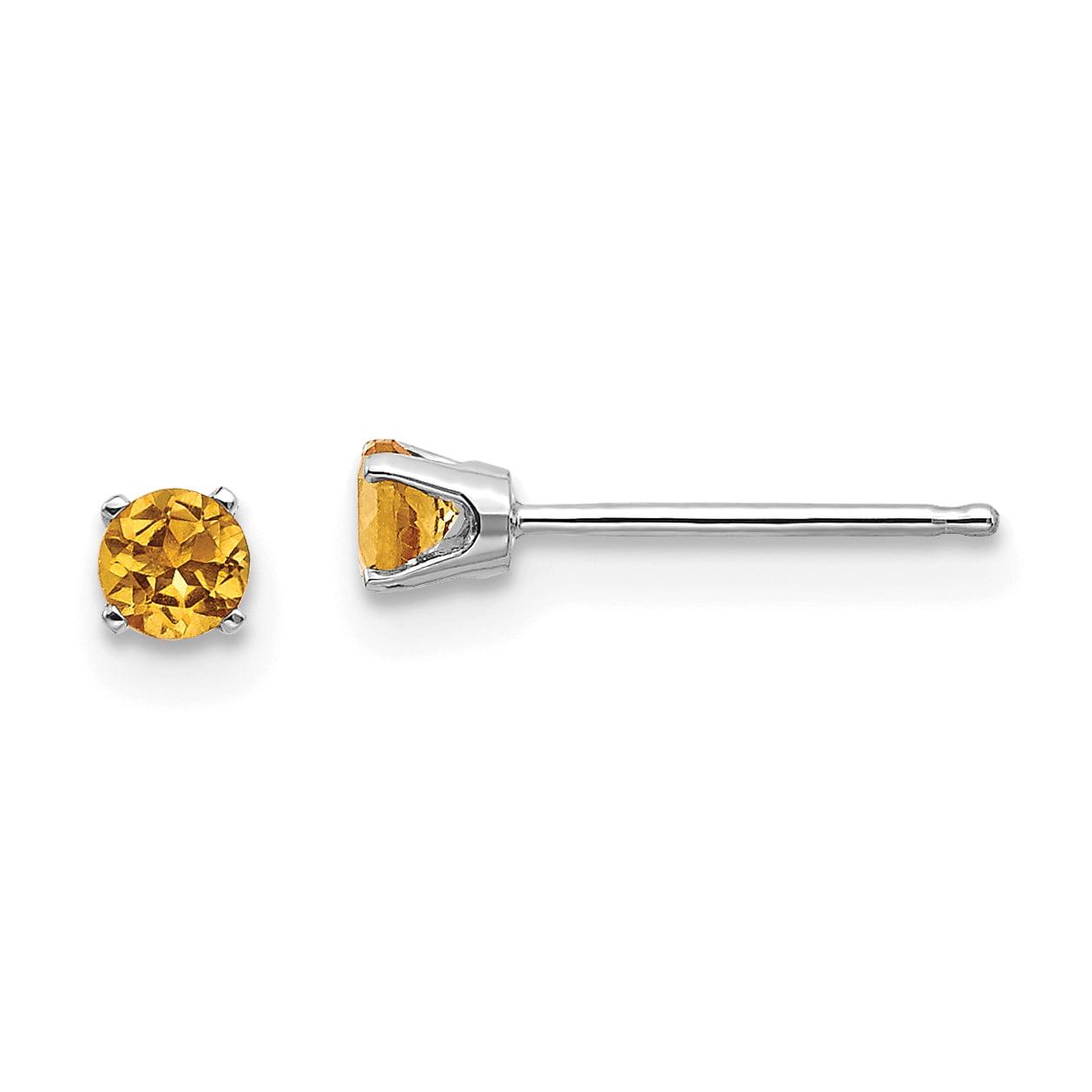 14K White Gold 3mm Citrine Stud Earrings - image 2 of 2