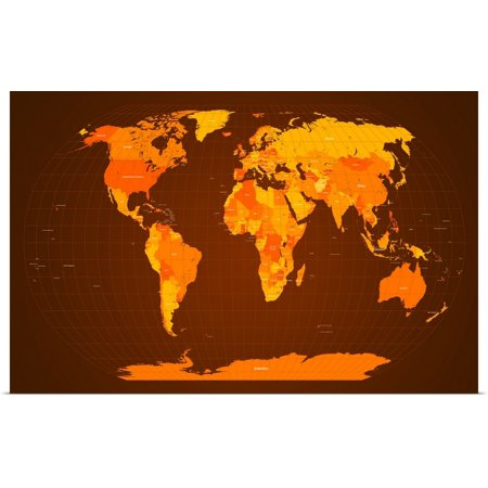 Great BIG Canvas | Rolled Michael Tompsett Poster Print entitled World Map Fall Colours