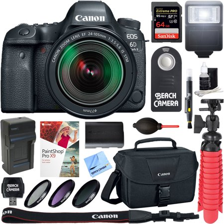 Canon EOS 6D Mark II 26.2MP Full-Frame Digital SLR Camera with EF 24-105mm IS STM Lens + 64GB Accessory Bundle
