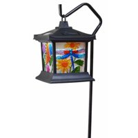 Moonrays 92276 Solar Powered Hanging Floral Stained Glass LED Lantern, 24-Inch Above Ground Height On The Shepherds Hook Made from Metal and Plastic, Rechargeable Battery Included