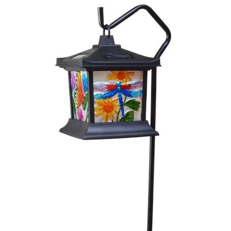 Moonrays 92276 Solar Powered Hanging Floral Stained Glass LED Lantern, 24-Inch Above Ground Height On The Shepherd's Hook (Included) made From Metal and Plastic, Rechargeable Battery Included