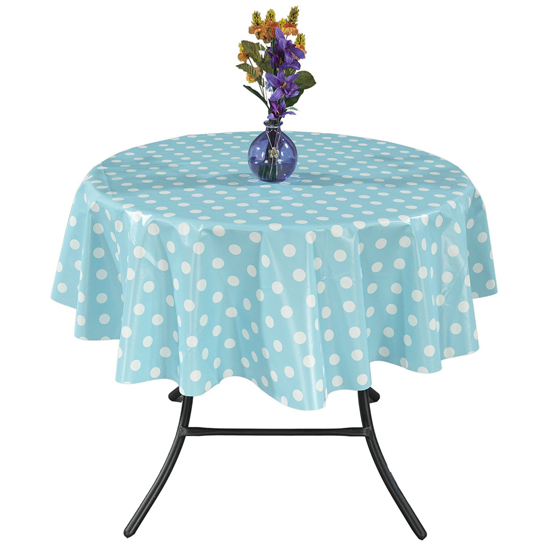 """Ottomanson Vinyl Polka Dot Design 55"""" Round Indoor & Outdoor Tablecloth Non-Woven Backing"""