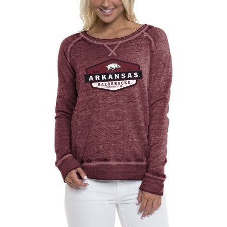 Women's Heathered Cardinal Arkansas Razorbacks Retro Shield Pullover Sweatshirt ()