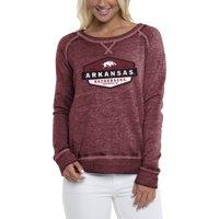 Women's Heathered Cardinal Arkansas Razorbacks Retro Shield Pullover Sweatshirt