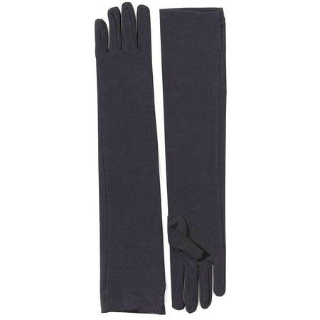 Long Sleeve Black Gloves (Black Long Nylon Adult Gloves)