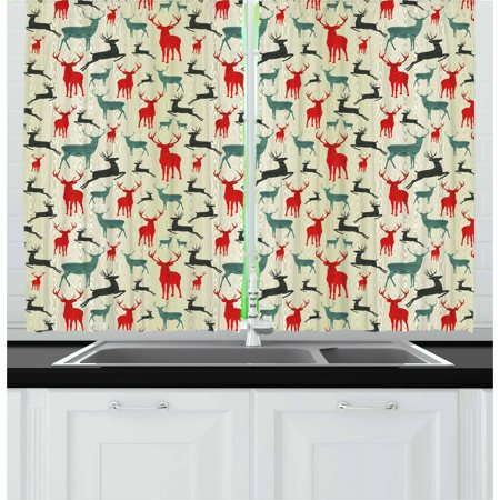 Deer Curtains 2 Panels Set, Winter Season Animal Silhouettes in Various Stances Jumping Standing Running Wooden, Window Drapes for Living Room Bedroom, 55W X 39L Inches, Multicolor, by