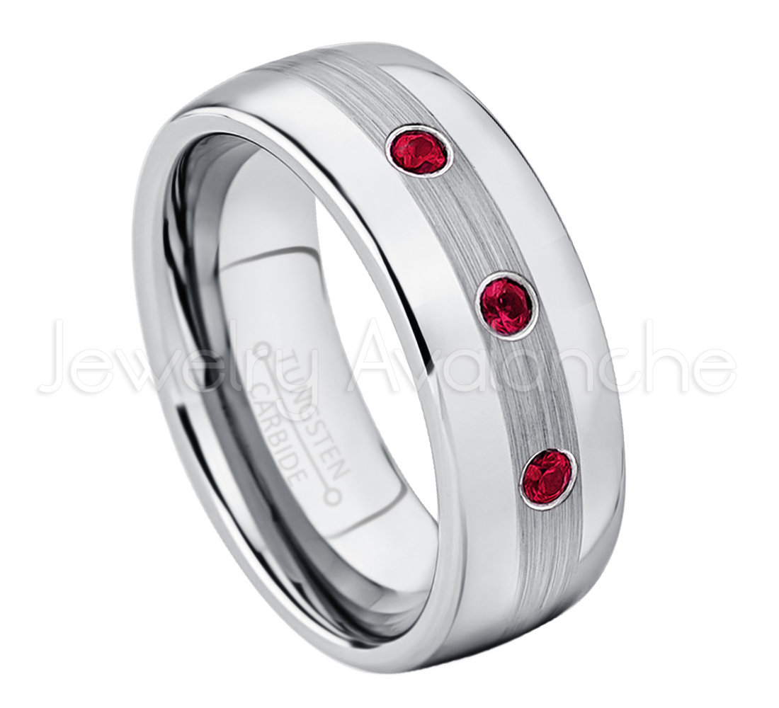 8mm Black Ion Plated Brushed Center Tungsten Carbide Ring TS1662 Ruby Wedding Band Men/'s July Birthstone Ring