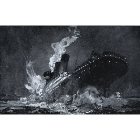 Image of The 46328 Tons Rms Titanic Of The White Star Line Sinking Around 220 Am Monday Morning April 15 After Hitting Iceberg In North Atlantic From Drawing By Henry Reuterdahl Prepared From Material Supplied