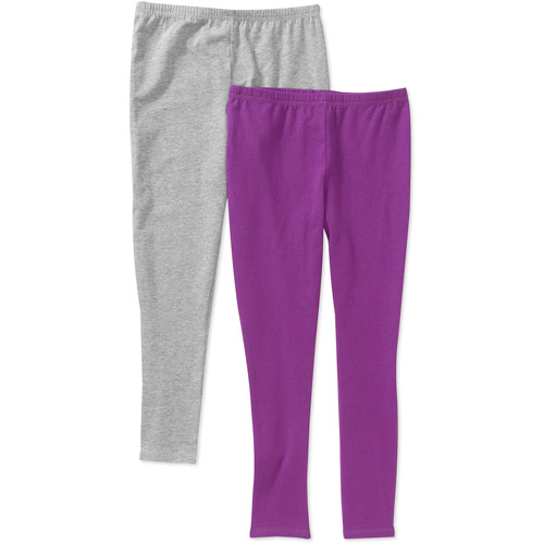 Faded Glory Girls' Leggings, 2 Pack