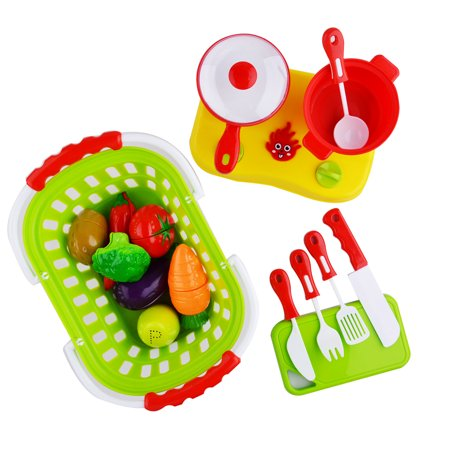 OUTOP 20-Piece Plastic Cutting Fruits and Vegetables Set with Basket and Cookware