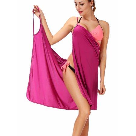 f6f31e81e05f5 SAYFUT - SAYFUT Women s Ice Silk Sexy Spaghetti Strap Backless Beach Dress  Swimsuit Cover Up Bikini Wrap Beachwear - Walmart.com