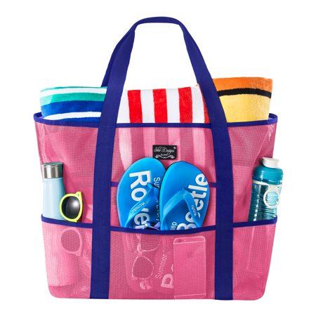Large Pocket Tote (SoHo Collection, Mesh Beach Bag - Toy Tote Bag - Large Lightweight Market, Grocery & Picnic Tote with Oversized Pockets (Pink/Blue) )