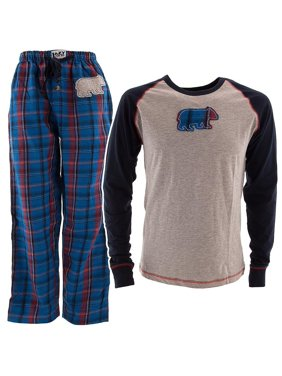 Lazy One Blue Plaid Bear Pajama Set for Women and Men