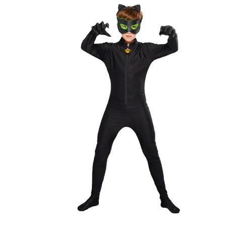 Girls Party Cat Costume (AkoaDa 5Pc\/3Pcs Children Kids Halloween Cosplay Costumes Ladybug Cat Jumpsuit Rompers Set Halloween Party Cosplay Girls)