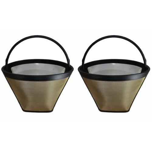 2 Washable Gold Tone #4 Cone Coffee Filters, Part # GTF by Overstock