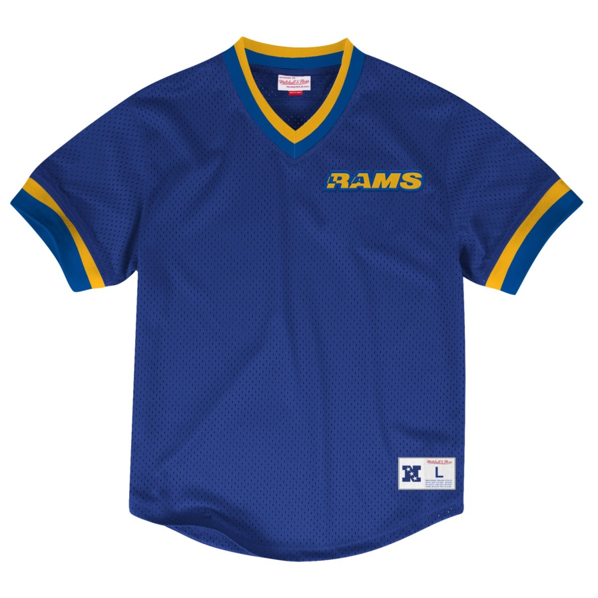Los Angeles Rams Mitchell & Ness NFL Men's Mesh V-neck Jersey Shirt