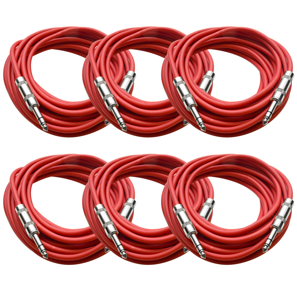 """Seismic Audio  - 6 Pack of Red 1/4"""" TRS 25' Patch Cable - Balanced - Effects EQ Red - SATRX-25Red6"""