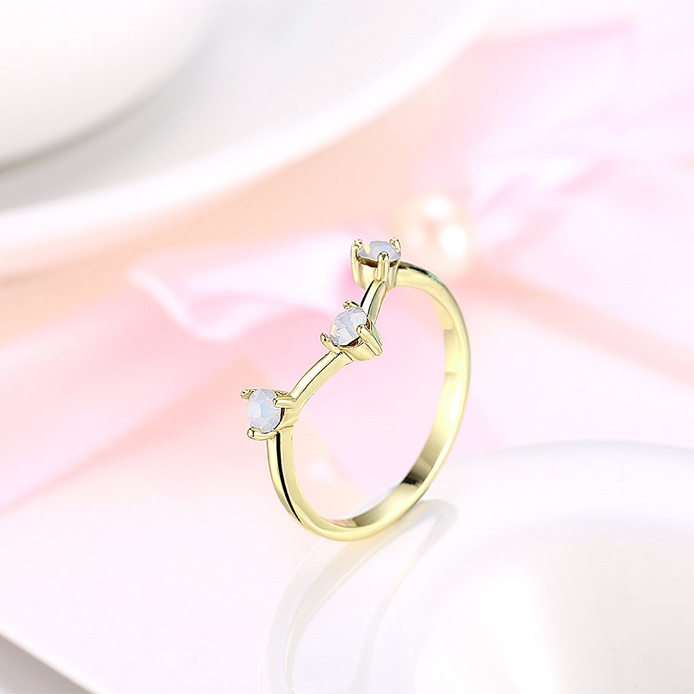 AKR144-A Women Trend Ring Geometric Shape Party Wedding Ring with ...