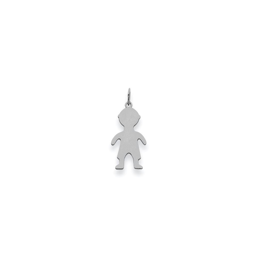 14K White Gold Plain Small 0.013 Gauge Engravable Boy Charm (1in long x 0.4in wide)