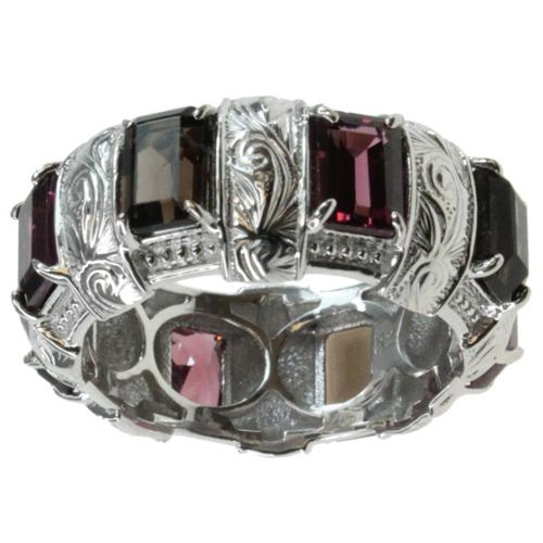 Dallas Prince  Silver Smokey Quartz and Rhodolite Ring