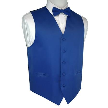 Italian Design, Men's Tuxedo Vest, Bow-tie - Royal -