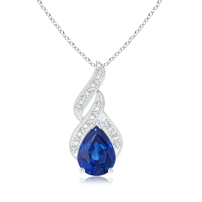 Angara Emerald and Diamond Flame Pendant in White Gold OnXL2vE