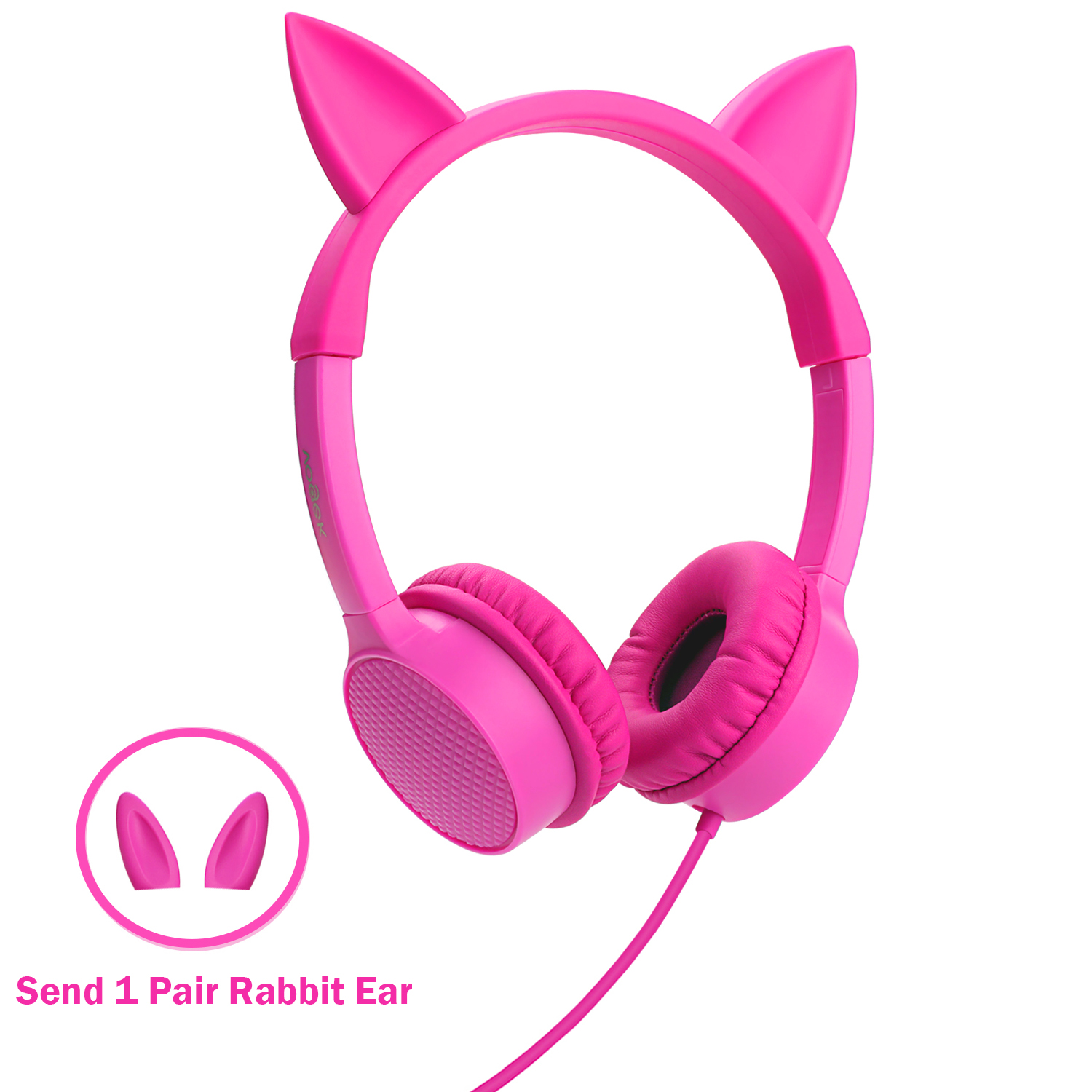Cat Ear Headphones Kids Headphones, Vogek 2 in 1 Cat / Rabbit Wired On-Ear Headphones Headsets with 85dB volume control, Children Headphones for Kids-Pink