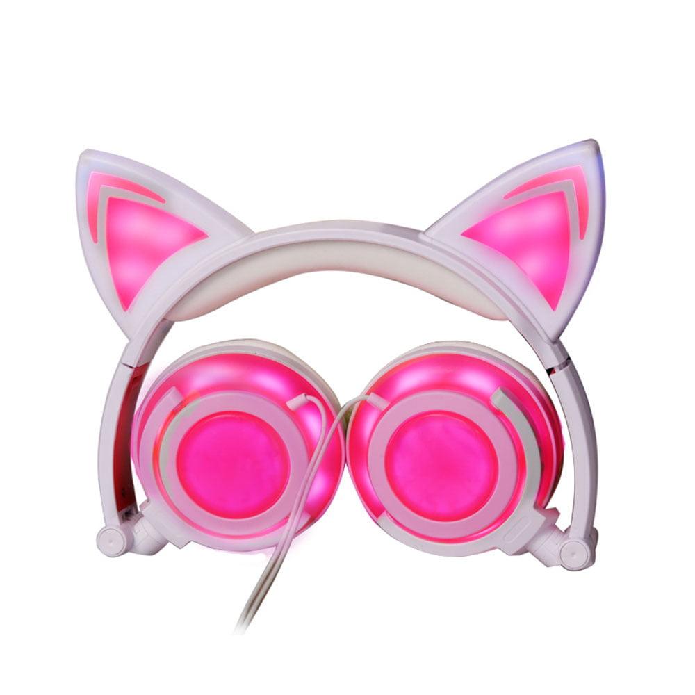 TechComm K8 Pointy Cat Ear LED Headphones with Glowing Ears & Earpads