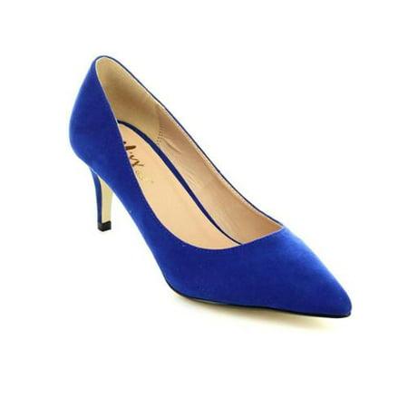 6b6a373a62f9 Mixx Shuz Merida-02 Women s Closed Pointed Toe Fashion Mid Heels BLUE SUEDE -6