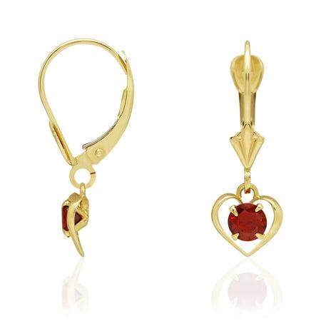 14k Yellow Gold Round Cut Birthstone Open Heart Dangle Drop Leverback Earrings
