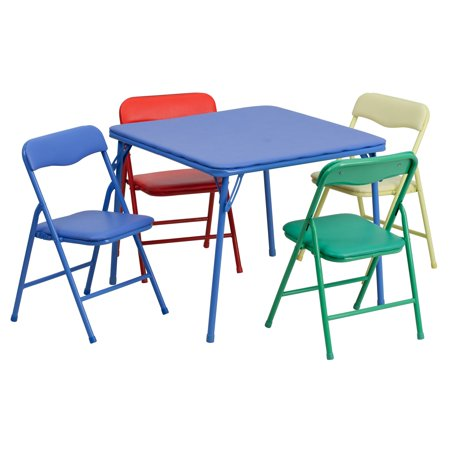 Flash Furniture Kids Colorful 5-Piece Folding Table and Chair Set ...