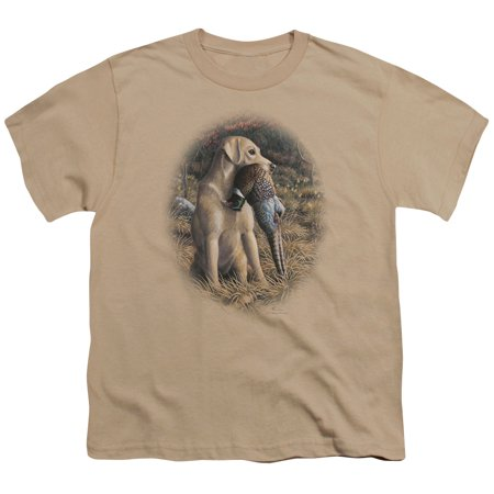 Wildlife/Yellow Lab With Pheasant   S/S Youth 18/1   Sand     Ww146