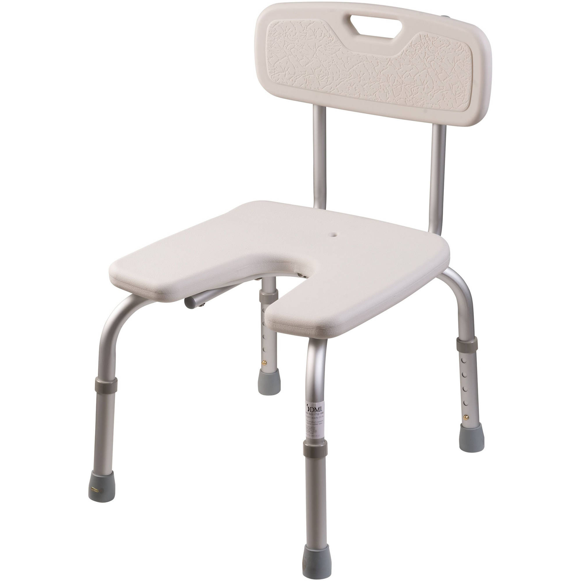 dmi u-shape bath and shower chair bench with removable back, white